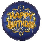 Satin Navy Blue Happy Birthday Luftballon aus Folie zum Geburtstag, 45 cm, Satin Luxe, heliumgefüllt