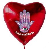 Türkisches Auge Luftballon aus Folie mit Helium-Ballongas, roter Herzballon, Nazar, Masallah