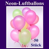 Neon-Luftballons, 20 cm, 50 Stück