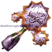 Großer Luftballon aus Folie zu Silvester und Neujahr, Happy New Year Cheers, Cluster Ballon, Sterne und Champagnerflasche