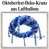Oktoberfest Kranzdekoration aus Luftballons, Festraumdekoration, Festsaaldekoration in Blau-Weiß
