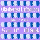 Oktoberfest Luftballons 25 cm, 100 Stück, Latexballons, Rundballons, Ballons in bester Qualität