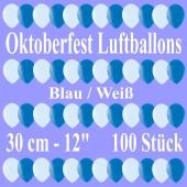Oktoberfest Luftballons, Latexballons 30 cm, 50 Stück weiß und 50 Stück blau