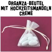 Hochzeitsmandeln Organza-Beutel Creme
