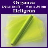 Organza Deko-Stoff, Hellgrün, 9 Meter x 36 cm