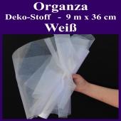 Organza Deko-Stoff, Weiß, 9 Meter x 36 cm