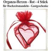 Organza-Herz Rot für Hochzeitsmandeln und Gastgeschenke