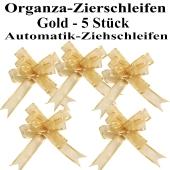Organza Zierschleifen Gold, 5 Stück, 22 mm, Automatik-Ziehschleifen