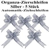Organza Zierschleifen Silber, 5 Stück, 22 mm, Automatik-Ziehschleifen