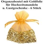 Organzabeutel Gold mit goldener Folienverzierung für Hochzeitsmandeln und Gastgeschenke