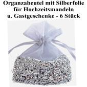 Organzabeutel Silber mit silberner Folienverzierung für Hochzeitsmandeln und Gastgeschenke