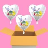 3 Helium Luftballons zu Ostern, Osterhasen mit Ostereier, Osterküken und Schmetterlinge