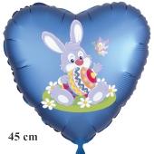 Osterhase mit Osterei und Schmetterling, Ostern, Luftballon in Satinblau aus Folie in Herzform mit Helium