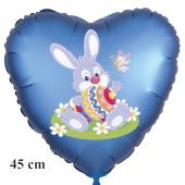 Osterhase mit Osterei und Schmetterling, Ostern, Luftballon in Satinblau aus Folie in Herzform