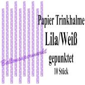 Lila-Weiß gepunktete Papier-Trinkhalme, 10 Stück