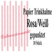 Rosa-Weiß gepunktete Papier-Trinkhalme, 10 Stück