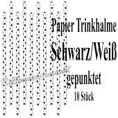 Schwarz-Weiß gepunktete Papier-Trinkhalme, 10 Stück