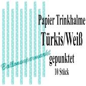 Türkis-Weiß gepunktete Papier-Trinkhalme, 10 Stück