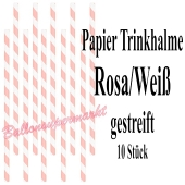 Rosa-Weiß gestreifte Papier-Trinkhalme, 10 Stück
