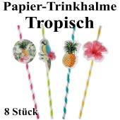 Papier-Trinkhalme Tropisch, 8 Stück