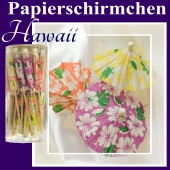 Hawaii Papierschirmchen, Partydekoration, Tischdekoration Hawaii-Party