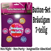 Party-Button-Set Bräutigam zu Hen Night, Hen Party und Junggesellenabschied