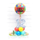 Luftballon aus Folie, Tischdekoration, Konfetti und Luftschlangen