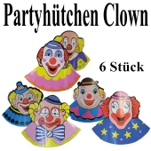 Partyhüte Clowns, 6 Stück