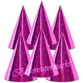 Pinkfarbene Partyhütchen, holografisch, 6 Stück