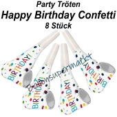 Party Tröten Happy Birthday, 8 Stück