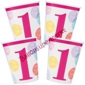 Partybecher zum 1. Geburtstag, Maedchen, 1st Birthday Pink Dots