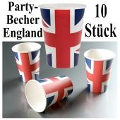 Partybecher England, 10 Stück Trinkbecher, Großbritannien-Flagge