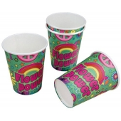 Partybecher Flower Power, Mottoparty Hippie, 70er Jahre