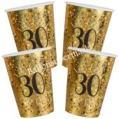 Glitzer Gold Partybecher zum 30. Geburtstag, 10 Stück