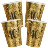 Glitzer Gold Partybecher zum 40. Geburtstag, 10 Stück