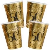 Glitzer Gold Partybecher zum 50. Geburtstag, 10 Stück