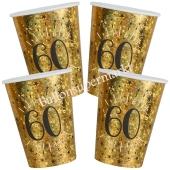 Glitzer Gold Partybecher zum 60. Geburtstag, 10 Stück