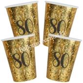 Glitzer Gold Partybecher zum 80. Geburtstag, 10 Stück