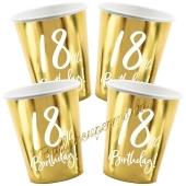 18th Birthday Gold Partybecher zum 18. Geburtstag, 6 Stück
