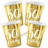 50th Birthday Gold Partybecher zum 50. Geburtstag, 6 Stück