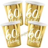 50th Birthday Gold Partybecher zum 60. Geburtstag, 6 Stück