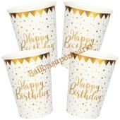 Weiß-Goldene Happy Birthday Partybecher, 10 Stück