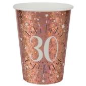 Rosegold Sparkling Partybecher zum 30. Geburtstag, 10 Stück