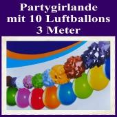 Partygirlande mit 10 Luftballons, 3 Meter