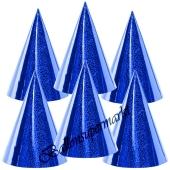 Blaue Partyhütchen, holografisch, 6 Stück