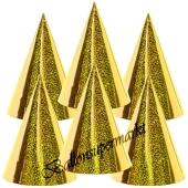 Goldene Partyhütchen, holografisch, 6 Stück