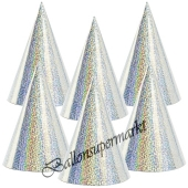 Silberne Partyhütchen, holografisch, 6 Stück