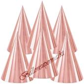 Roségoldene Partyhütchen, 6 Stück