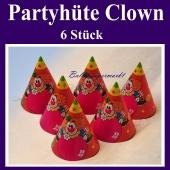 Partyhüte Clown, Hütchen zu Karneval, Fasching, Kinderkarneval und Kindergeburtstag, stimmungsvolle Kopfbedeckung