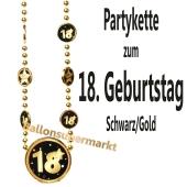 Partykette zum 18. Geburtstag, Schwarz-Gold